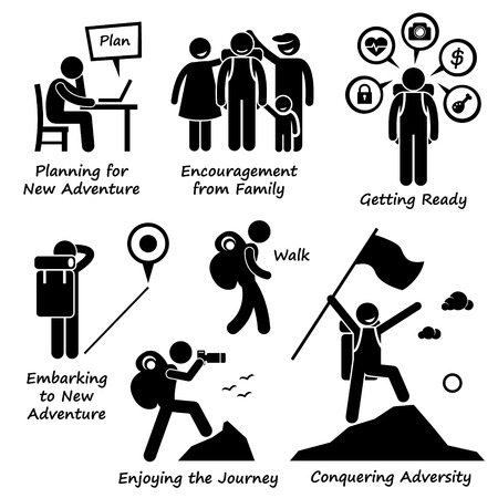 guy with walking stick: New Adventure and Conquering Adversity Stick Figure Pictogram Icons