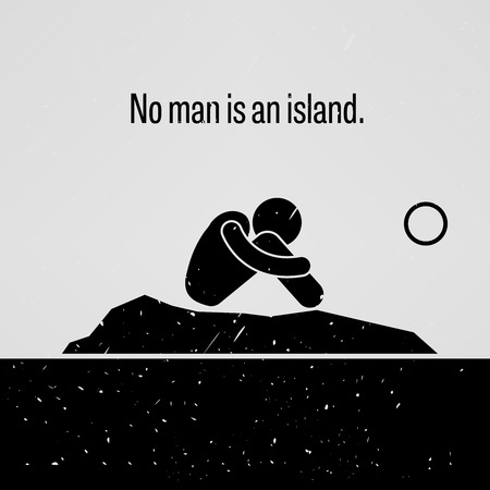 alone man: No Man is an Island Illustration