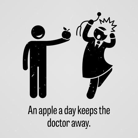 aliments droles: Une pomme par jour �loigne le m�decin version dr�le Illustration