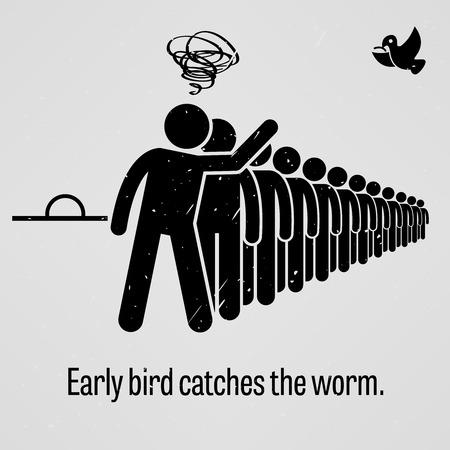 strichmännchen: Frühe Vogel fängt den Wurm Illustration
