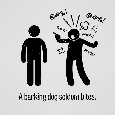 swearing: A Barking Dog Seldom Bites Illustration