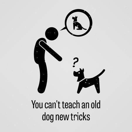Je kunt niet leren een oude hond nieuwe trucjes Stock Illustratie