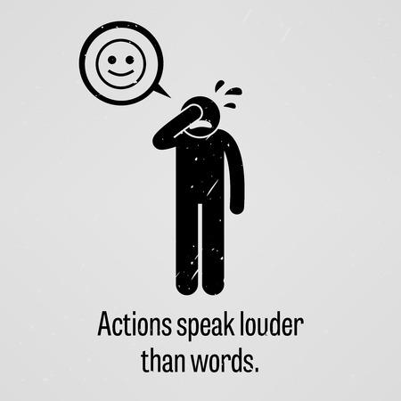 Czyny mówią głośniej niż słowa Ilustracje wektorowe