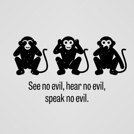 See no Evil, Hear no Evil, Speak no Evil Vector