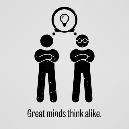 idioms: Great Minds Think Alike Illustration