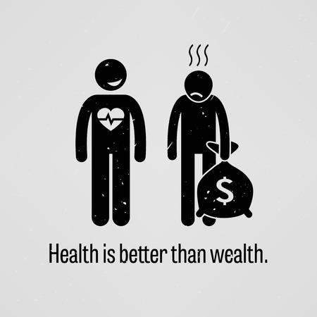 Gezondheid is beter dan rijkdom Vector Illustratie