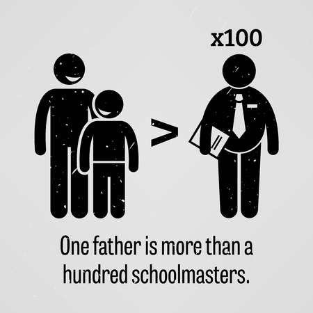 one parent: One Father is More than a Hundred Schoolmasters Illustration