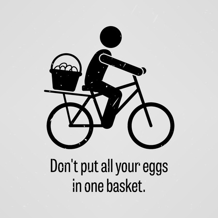 all in one: Do not put all your eggs in one basket Illustration