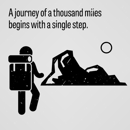 difficult journey: A journey to a thousand miles begins with a single step Illustration