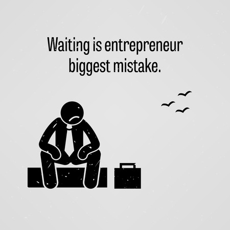 people sitting: Waiting is entrepreneur biggest mistake Illustration