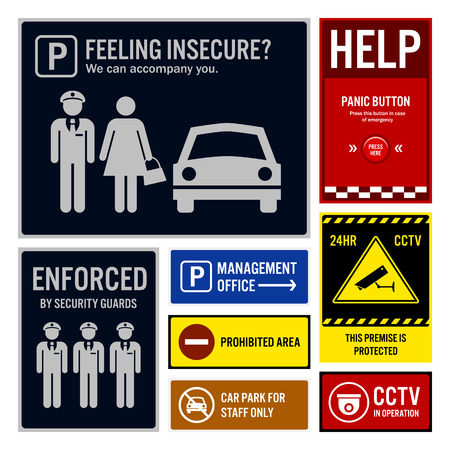 Car Park Safety and Security Signboards Vector