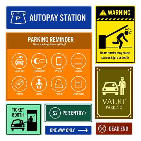 señales preventivas: Recordatorio aparcamiento y de información Letreros Vectores