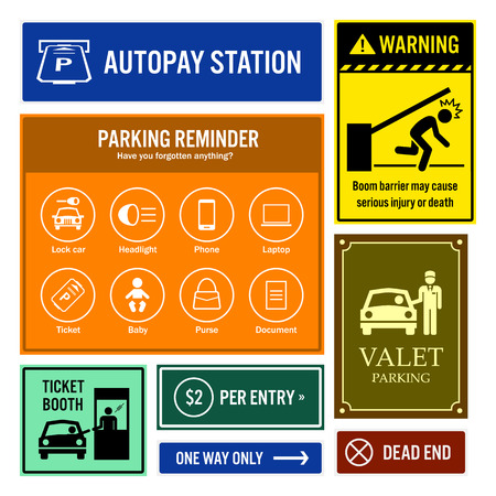 Car Park Reminder and Information Signboards Illustration
