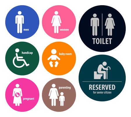 enfant banc: Signes toilettes Toilettes enseignes Illustration