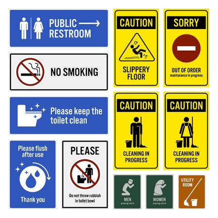 화장실 공지 사항 및 화장실 경고 기호 간판