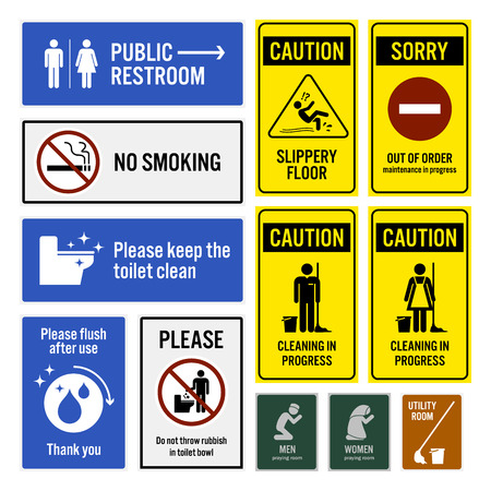 signos de precaucion: Aviso WC y lavabo de advertencia Letreros Sign Vectores