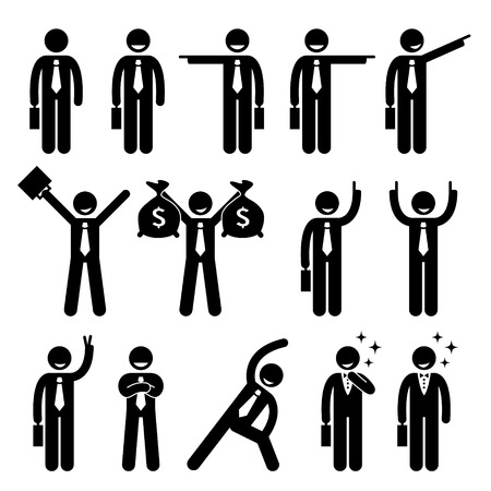 left right: Businessman Business Man Happy Action Poses Stick Figure Pictogram Icon