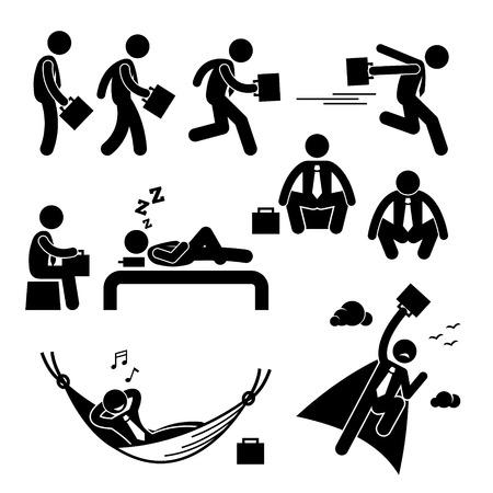 スティック図ピクトグラム アイコンを飛んで眠っている実行している歩行のビジネスマン ビジネス男