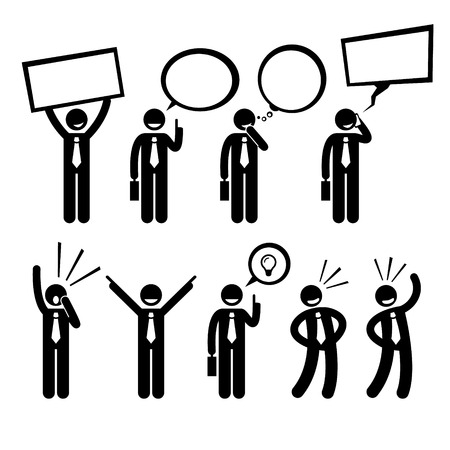 a placard: Businessman Business Talking Thinking Shouting Holding Placard Man Stick Figure Pictogram Icon