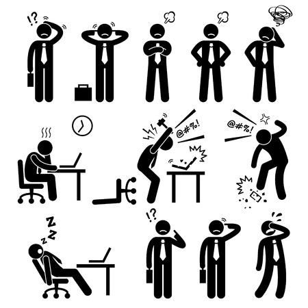 empresario triste: El hombre de negocios hombre de negocios Presi�n Estr�s Icono Workplace Stick Figure Pictograma Vectores