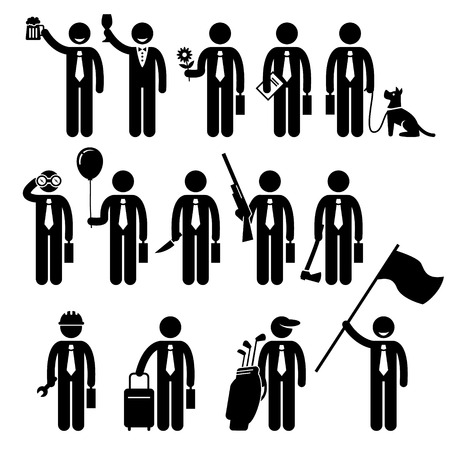Businessman Business Holding Objects Man Stick Figure Pictogram Icon Vector