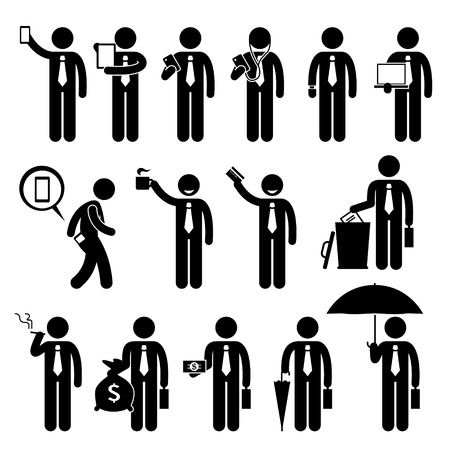 man using computer: Business Man Businessman Holding Various Objects Stick Figure Pictogram Icons