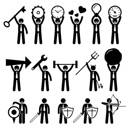 cartoon clock: Business Man Businessman Using Various Objects Stick Figure Pictogram Icons