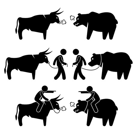 charging bull: Businessman Business Man with Bull and Bear Stick Figure Pictogram Icons
