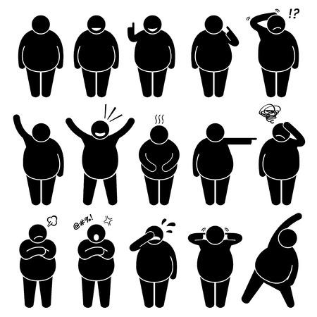 Fat Man Aktion Haltungen Haltungen Strichmännchen-Piktogramm Icons