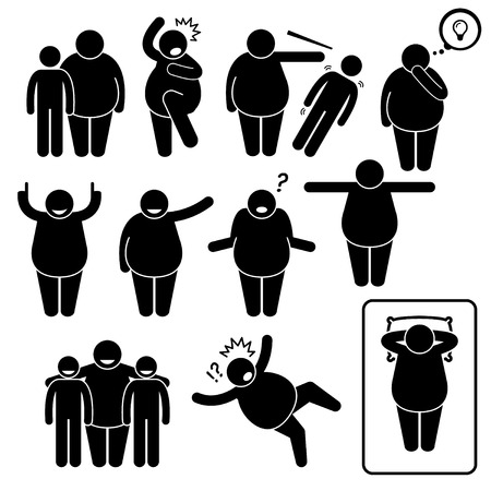 obese person: Fat Man Action Poses Postures Stick Figure Pictogram Icons