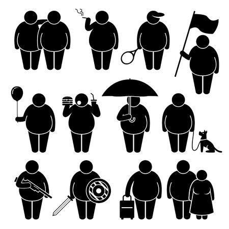simbolo uomo donna: Fat Man Holding utilizzando vari oggetti Stick Figure pittogrammi Icone Vettoriali
