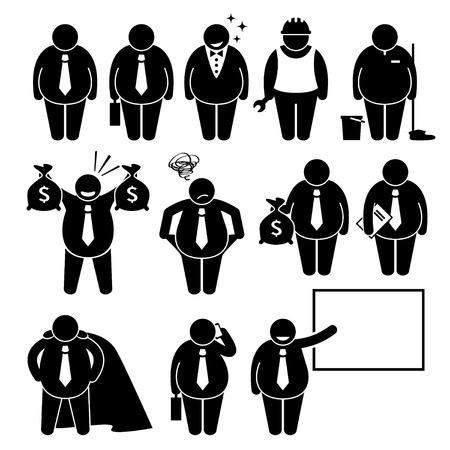 obrero caricatura: Hombre de negocios gordo negocio del hombre del trabajador Figura Stick Pictograma Iconos Vectores
