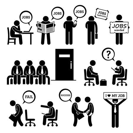 persone nere: L'uomo cerca di lavoro e di occupazione Intervista Stick Figure pittogrammi Icone Vettoriali