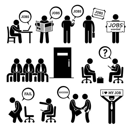 work on computer: Man Looking for Job Employment and Interview Stick Figure Pictogram Icons