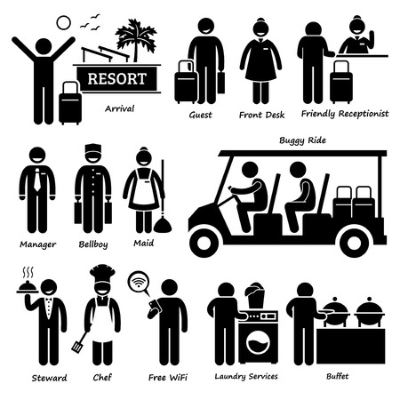 front desk: Resort Villa Hotel Tourist Worker and Services Stick Figure Pictogram Icons