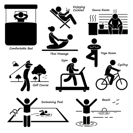 human figure: Resort Villa Hotel Holiday Vacation Tourist Activity Stick Figure Pictogram Icons