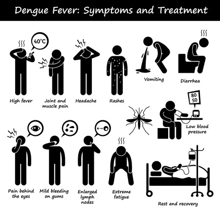 Dengue Fever symptomen en de behandeling Aedes Mosquito Stick Figure Pictogram Pictogrammen Stock Illustratie