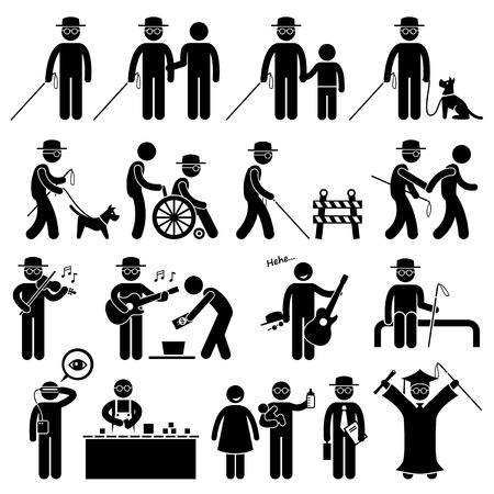 guy with walking stick: Blind Man Handicap Stick Figure Pictogram Icons