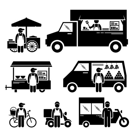 voedingsmiddelen: Mobiele Voedsel Voertuigen vrachtwagen Van Wagon fiets winkelwagen Stick Figure Pictogram Pictogrammen
