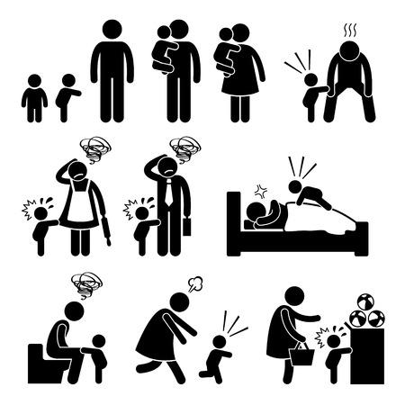 bambino che piange: Bad Temper Tantrum bambino del bambino con madre e padre Stick Figure pittogrammi Icone