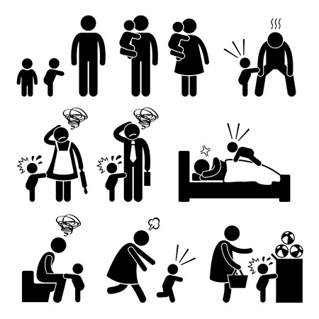 Bad Temper Toddler Baby Tantrum with Mother and Father Stick Figure Pictogram Icons Vectores