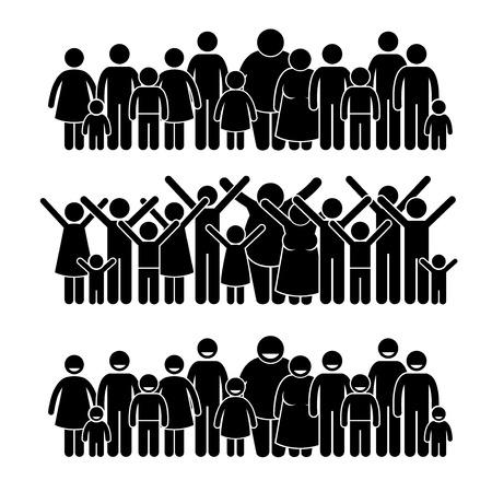 family together: Gruppo di persone in piedi comunitari Stick Figure pittogrammi Icone