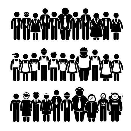 and white collar workers: Group of People Worker from Different Profession Stick Figure Pictogram Icons Illustration