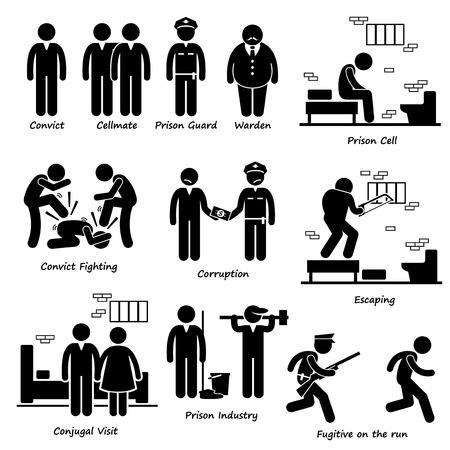 preso: Prisión del Convict Cárcel Preso Los presos de la Guardia Warden Figura Stick Pictograma Iconos Vectores