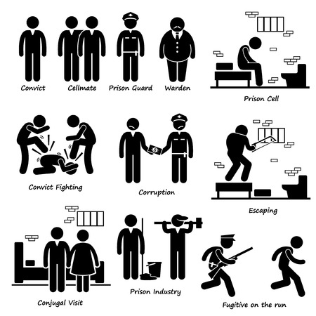 police cartoon: Prison Jail Convict Prisoner Inmates Guard Warden Stick Figure Pictogram Icons