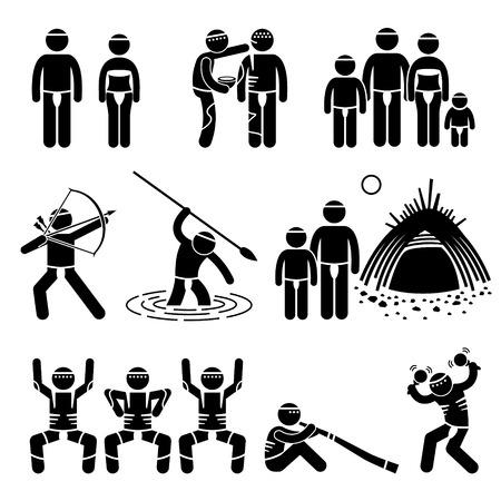 aboriginal woman: Tribe Native Indigenous Aboriginal People Culture and Tradition Stick Figure Pictogram Icons