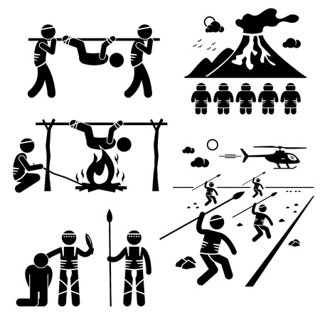 ancient civilization: Lost Civilization Cannibal Man Eating Tribe Stick Figure Pictogram Icons Illustration