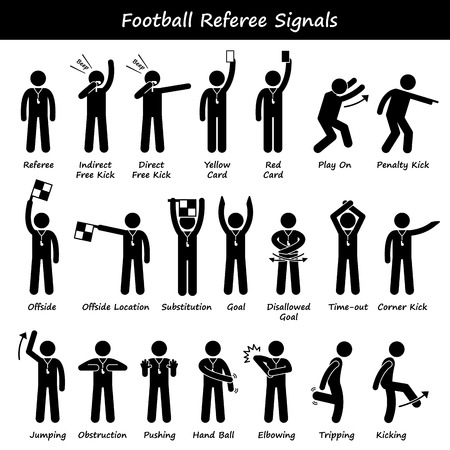 soccer sport: Football Soccer Referees Officials Hand Signals Stick Figure Pictogram Icons