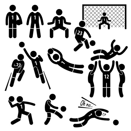 soccer game: Goalkeeper Actions Football Soccer Stick Figure Pictogram Icons Illustration