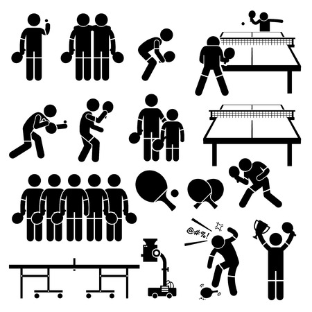 Table Tennis Player Actions Poses Stick Figure Pictogram Icons